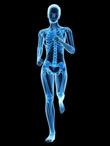 medical 3d illustration - female jogger with visible bones